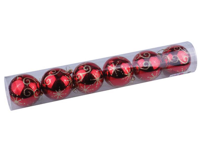 Украшение Золотая сказка Набор шаров 6шт 8см Red 590886
