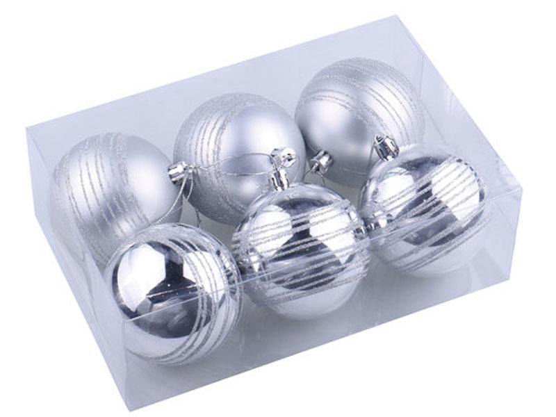 Украшение Золотая сказка Набор шаров 6шт 8см Silver 590884