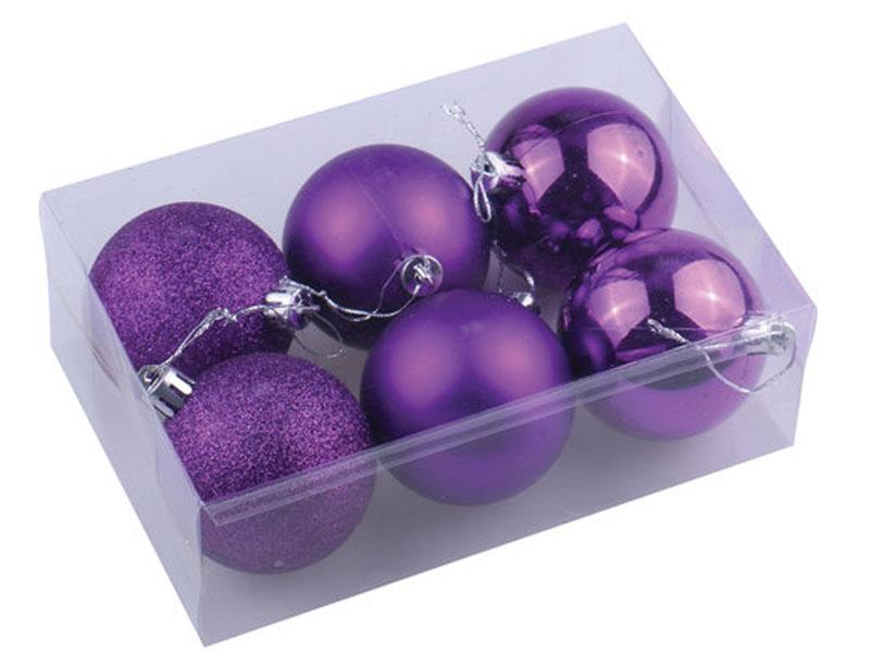 Набор шаров Золотая сказка 6шт 8см Purple 590877