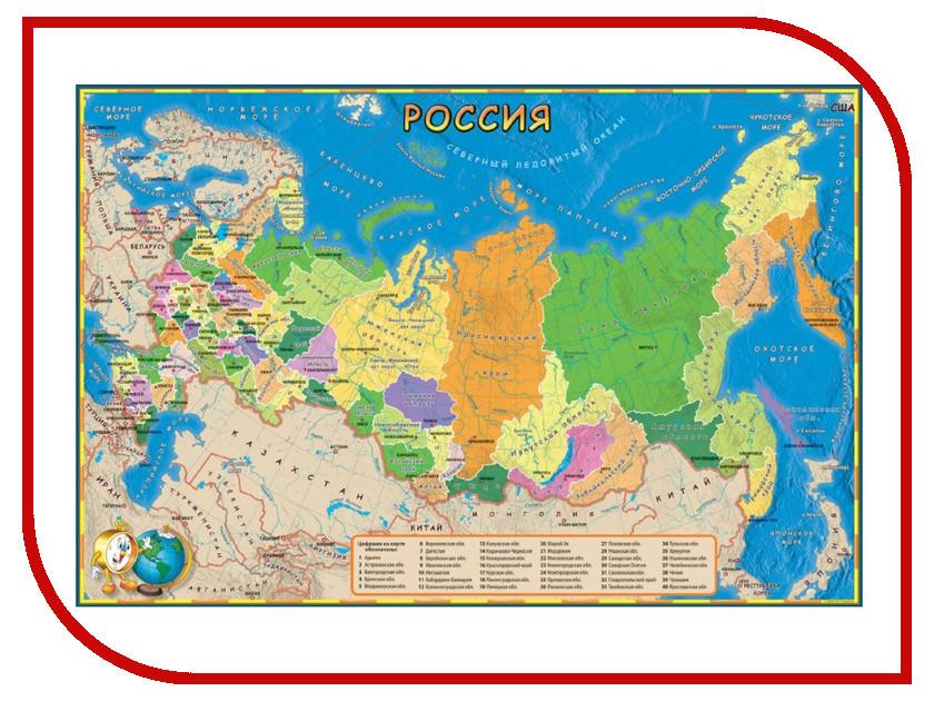 Карта РФ Глобусный Мир детская 580x410mm 30040