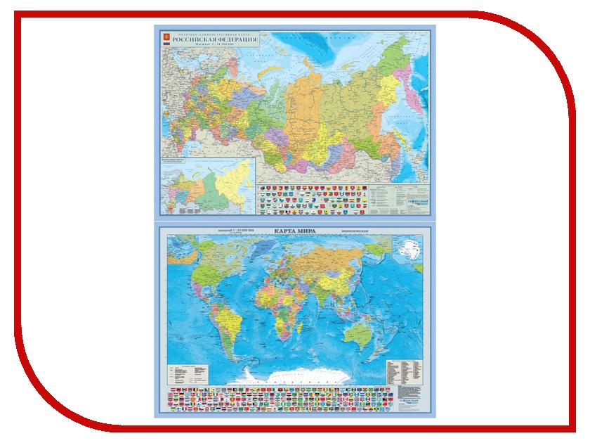 Карта РФ двусторонняя Глобусный Мир политико-административная 20817