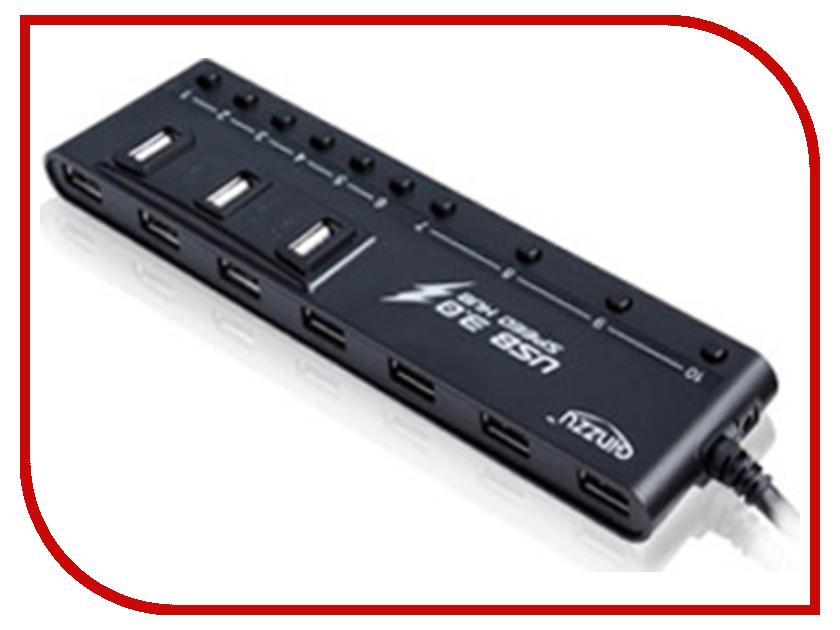 Хаб USB Ginzzu GR-380UAB 10-ports + Зарядное устройство сетевое USB-2x Ginzzu GA3212UB
