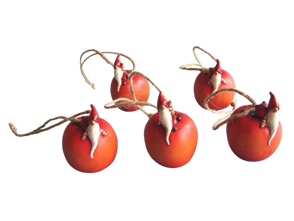 Украшение Breitner Гномик на яблоке 5cm 32-011