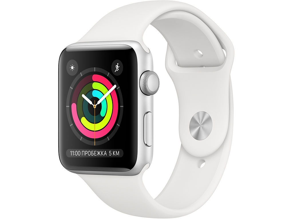 Умные часы APPLE Watch Series 3 38mm Silver Aluminium Case with White Sport Band MTEY2RU/A Выгодный набор + серт. 200Р!!!