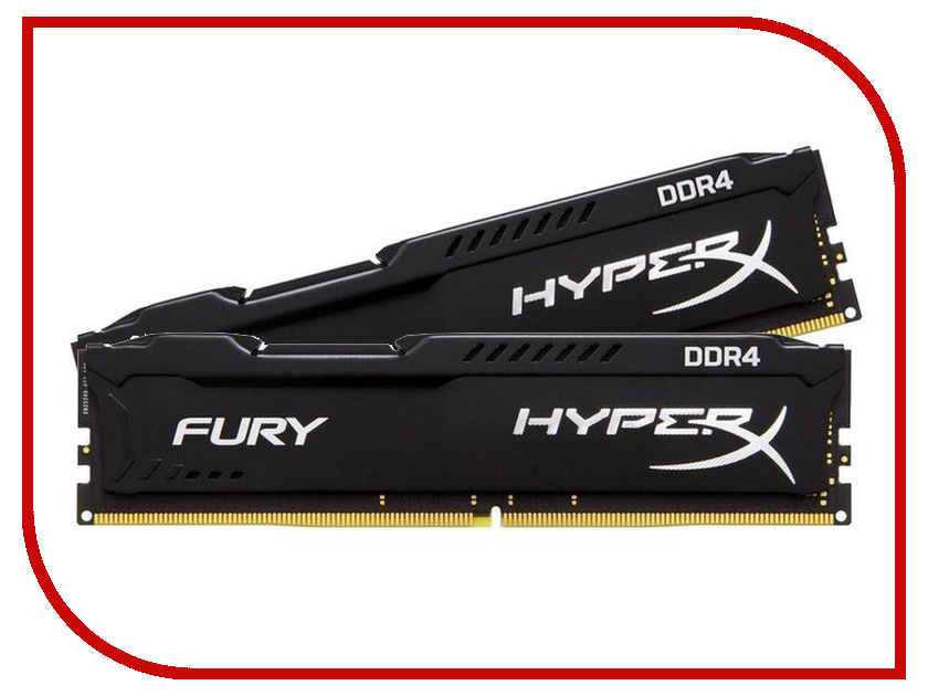 Модуль памяти Kingston HyperX Fury Black DDR4 DIMM 2933MHz PC4-23466 CL17 - 16Gb KIT (2x8GB) HX429C17FB2K2/16 модуль памяти dimm 16gb 2х8gb ddr4 pc23466 2933mhz kingston hyperx fury black series hx429c17fb2k2 16