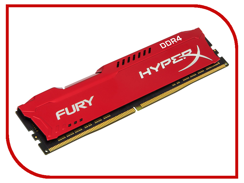 Модуль памяти Kingston HyperX Fury Red DDR4 DIMM 3466MHz PC4-27700 CL19 - 8Gb HX434C19FR2/8 модуль памяти kingston hyperx fury white ddr4 dimm 3466mhz pc 27700 cl19 16gb hx434c19fw 16
