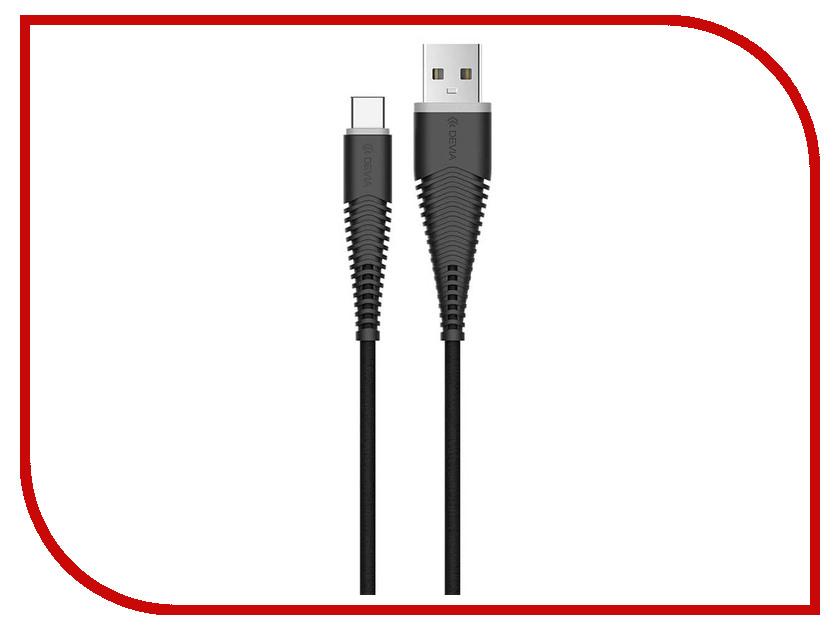 Аксессуар Devia Fish 1 USB - USB-C 1.5m Black 22267 аксессуар devia pheez series 3 in 1 lightning type c micro usb 1m black