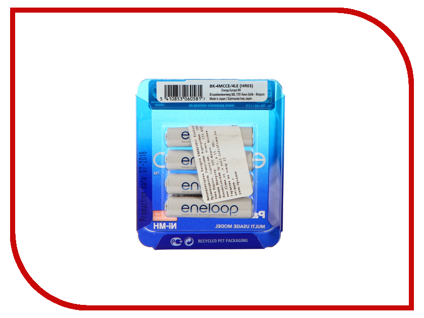Аккумулятор AAA - Panasonic Eneloop 750 mAh 4BP BK-4MCCE/4LE аккумулятор panasonic eneloop bk 4mcce 8be 750mah aaa bl8