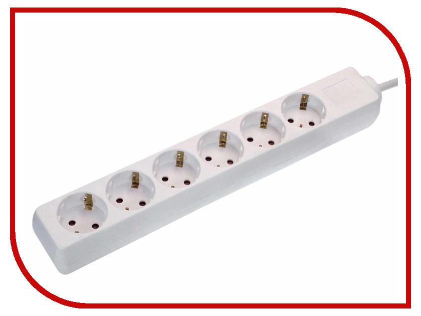 Удлинитель Schwabe 6 Sockets 3m White 11631AS удлинитель supra 7 sockets 3m light gray sf 7 es 3m