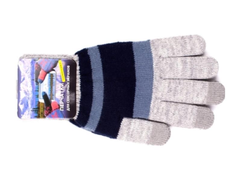 Теплые перчатки для сенсорных дисплеев Harsika 0218 Blue-Grey
