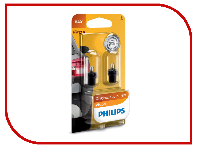 Лампа Philips BAX 12V-1.2W BAX8.5d/2 Black (2 штуки) 12598B2