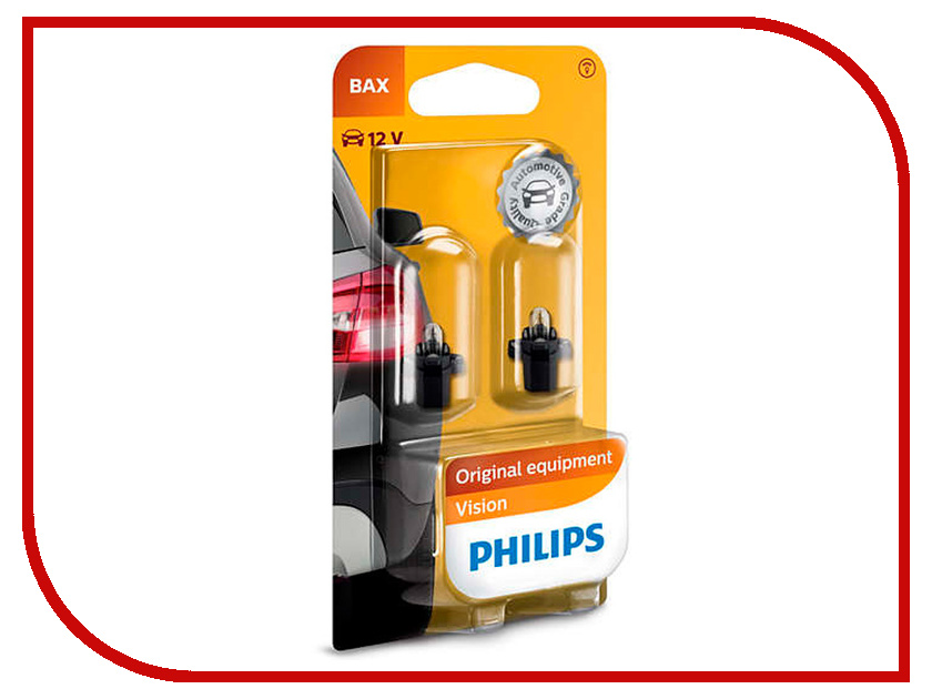 Лампа Philips BAX 12V-1.2W BAX8.5d/2 Black (2 штуки) 12597B2
