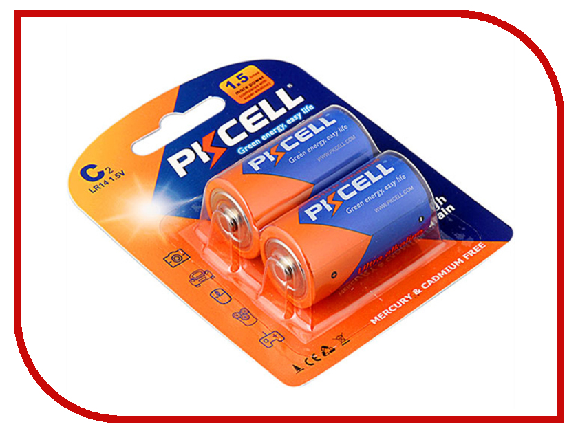 Батарейка C - Pkcell R14P-2B (2 штуки) lemo fgg 2b 308 clad egg 2b 308 compatible lemo 8 pins metal circular push pull electrical connector 2b series plug socket