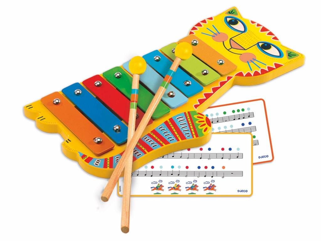 Детский музыкальный инструмент Djeco Металлофон Кот 06002