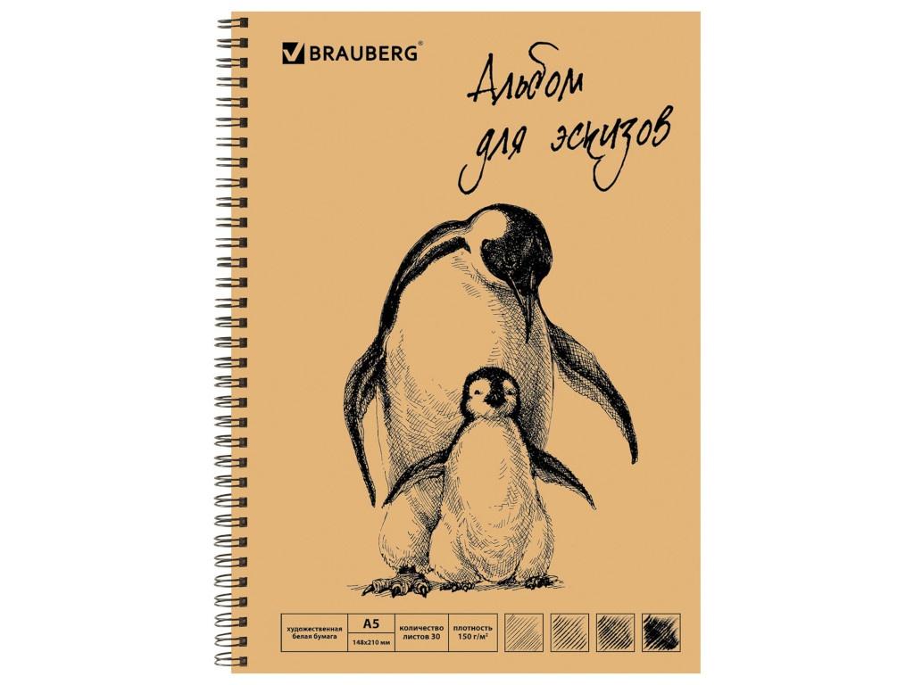 Альбом для эскизов Brauberg A5 30 листов Белая бумага 128950