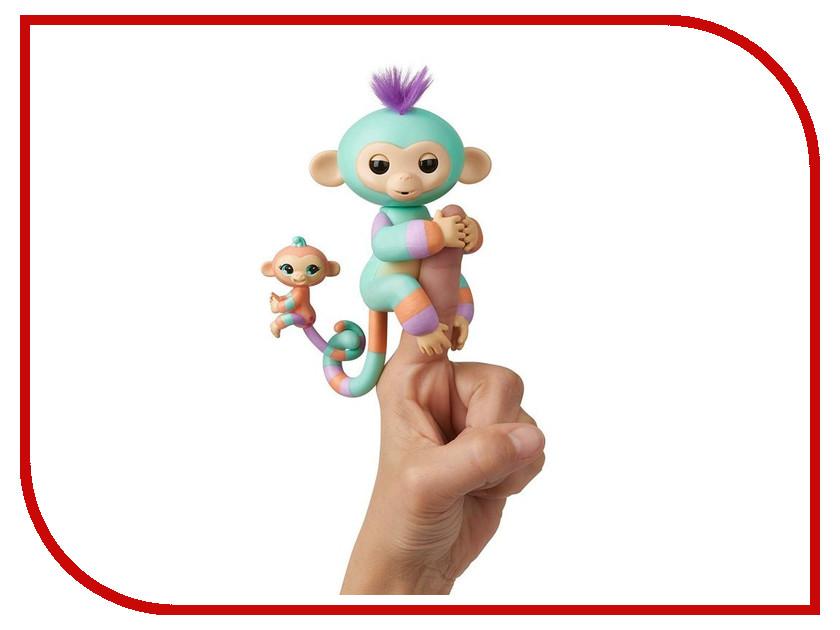 Игрушка WowWee Fingerlings Ручная обезьянка с малышом Денни 3544 интерактивная игрушка обезьянка wowwee fingerlings финн пластик черный 12 см 3701a