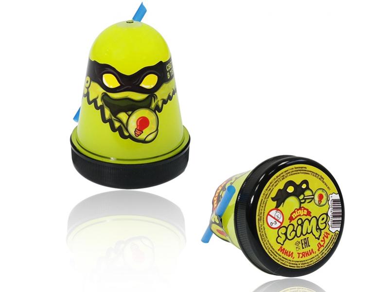 Слайм Лизун Slime Ninja 130гр светится в темноте Yellow S130-19
