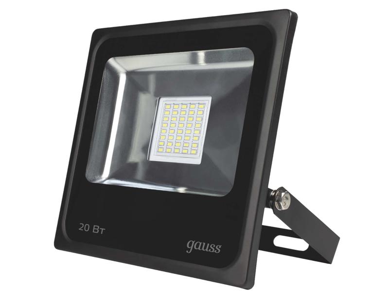 Прожектор Gauss LED 20W IP65 6500К Black 613100320