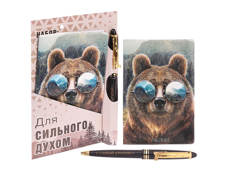 Подарочный набор СИМА-ЛЕНД Для сильного духом, обложка для паспорта и ручка 2986564