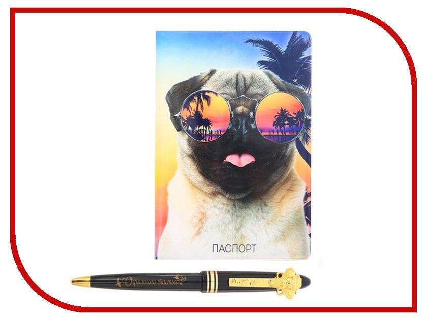 Подарочный набор СИМА-ЛЕНД Улыбайся, обложка для паспорта и ручка 2986565 кухонный набор сима ленд шеф повар хрюша 3505364