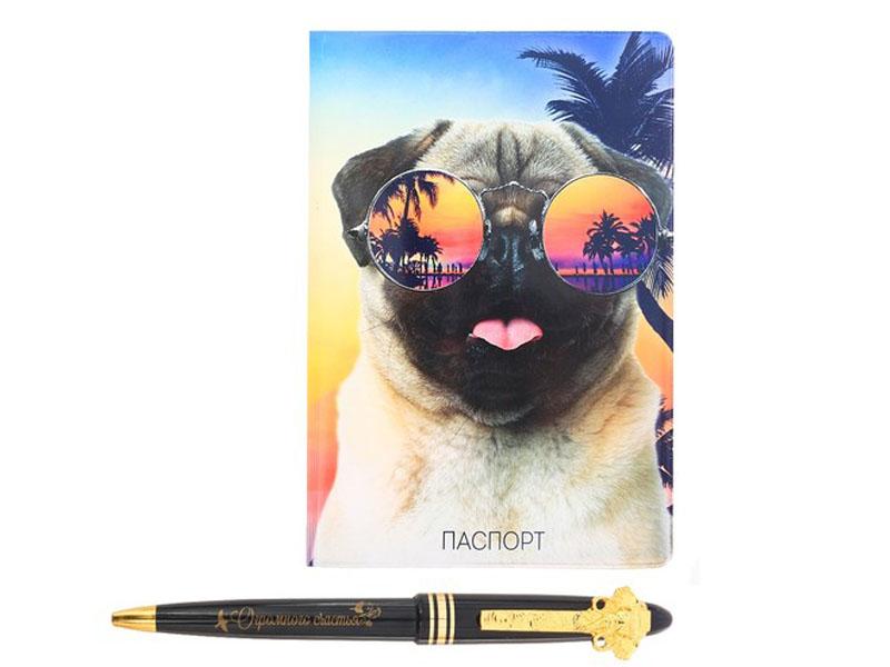 Подарочный набор СИМА-ЛЕНД Улыбайся, обложка для паспорта и ручка 2986565