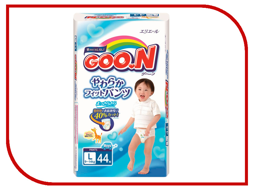 Подгузники Goo.N трусики для мальчиков L (9-14 кг) 44 шт. 4902011857719