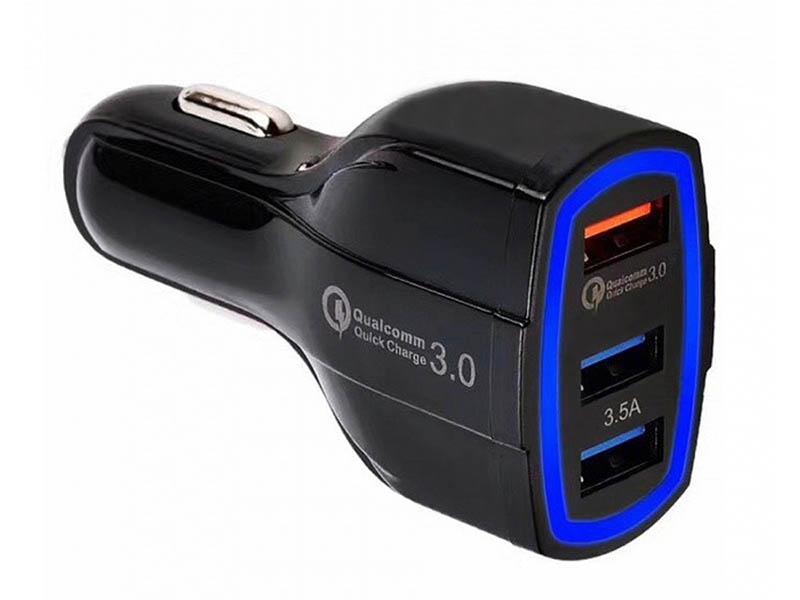 Зарядное устройство Orient CAR QC-12V3W 3xUSB Black 30772