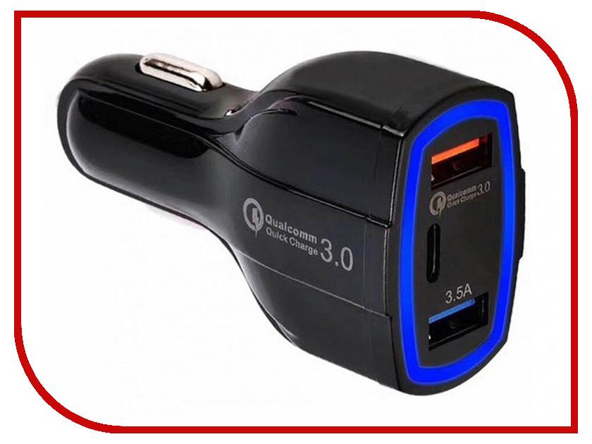 Зарядное устройство Orient CAR QC-12V3B 3xUSB Black 30770 car