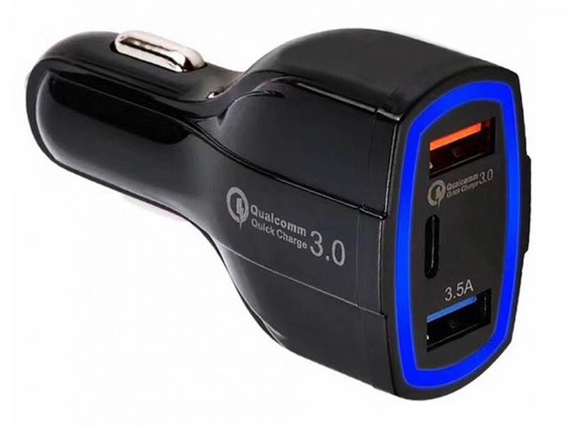 Зарядное устройство Orient CAR QC-12V3B 3xUSB Black 30770