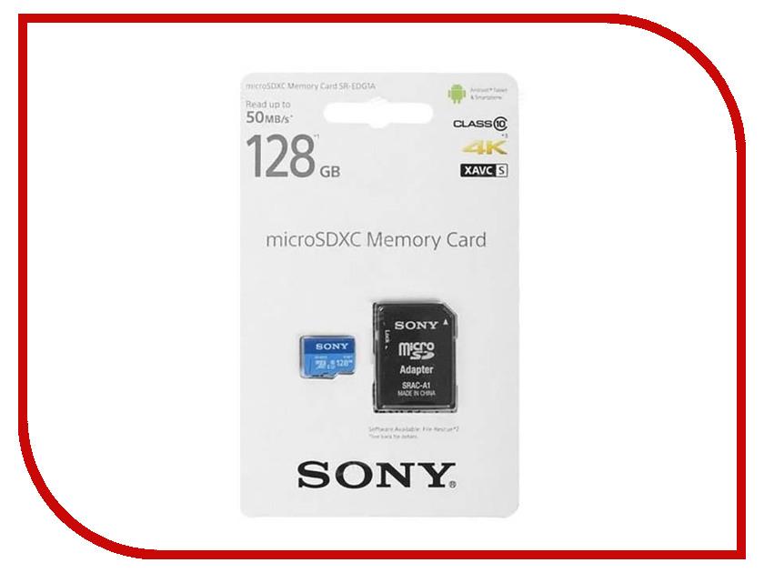 Карта памяти 128Gb - Sony micro SDXC UHS-I U1 + ADP Class 10 SR-EDG1A с переходником под SD карта памяти micro sdxc sony 64gb class 10 uhs i u1 sr64uyat
