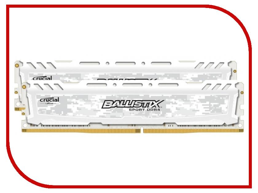 Модуль памяти Crucial Ballistix Sport LT White DDR4 DIMM 2400MHz PC4-19200 CL16 - 8Gb KIT (2x4Gb) BLS2C4G4D240FSC