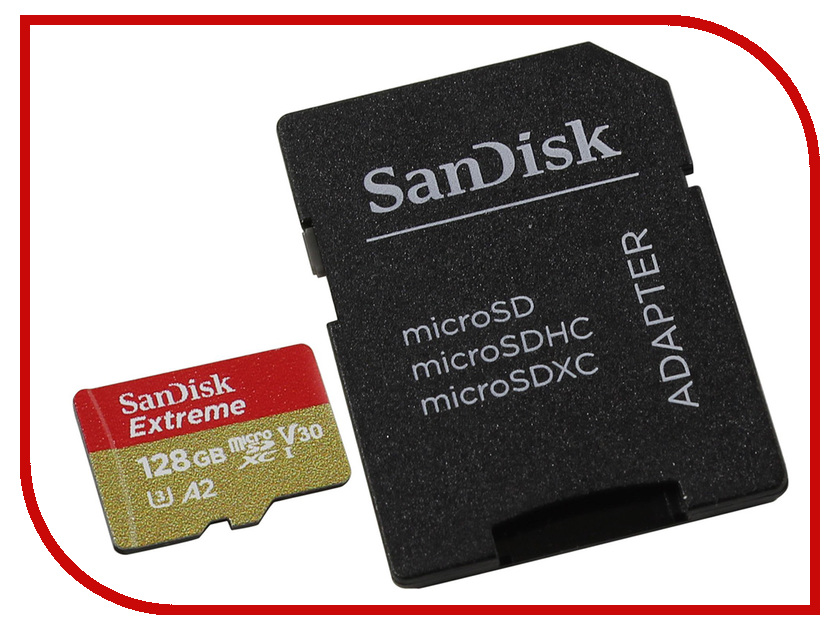 Карта памяти 128Gb - SanDisk MicroSD Extreme Class 10 SDSQXA1-128G-GN6AA с переходником под SD sandisk extreme pro compactflash 128gb карта памяти