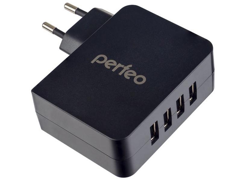 Зарядное устройство Perfeo Cube 4 4xUSB 4.9А Black PF-A4137