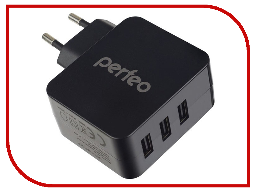 Зарядное устройство Perfeo Cube 3 3xUSB 4.8А Black PF-A4135