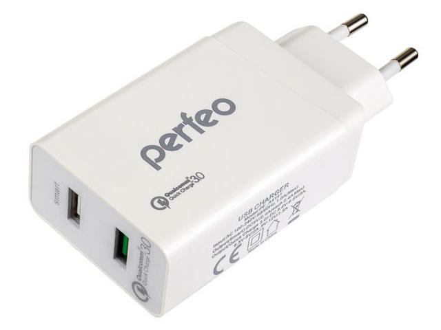 Зарядное устройство Perfeo Fast 2 2xUSB QC3.0 White PF-A4141