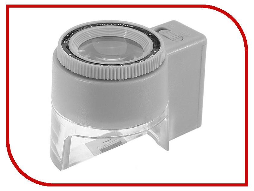 Лупа часовая Kromatech MG13100-2 8x контактная с подсветкой 1 LED 23149w046 лупа офисная alco 1276 с подсветкой из 2 led 88ммх2 5 и х4 стекло черная оправа ручка металл