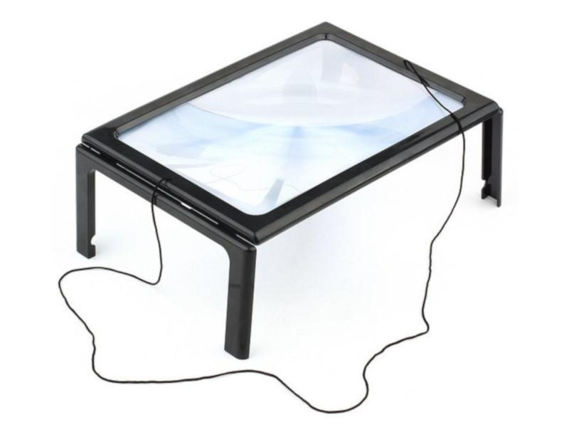 Лупа настольная Kromatech 3x линза Френеля с подсветкой 4 LED 23149b200 цена и фото