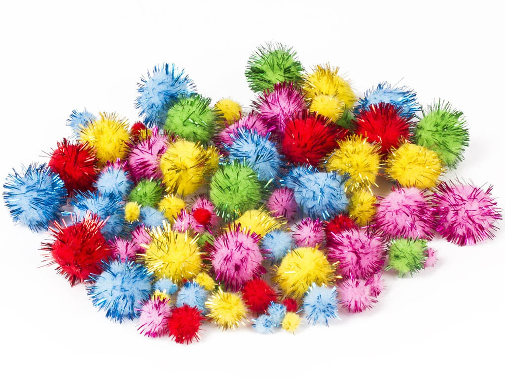 Набор Остров Сокровищ Помпоны для творчества 100шт 5 цветов 661437 глина для лепки остров сокровищ 1кг голубая