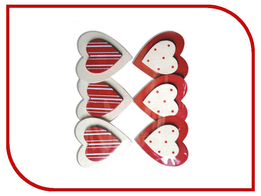 Набор Остров Сокровищ Прищепки декоративные Сердце с узором 6шт ассорти 661292 книга сейф остров сокровищ 19 13 6см 894610