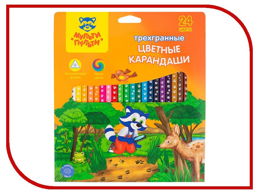 Карандаши цветные Мульти-Пульти Енот-следопыт 24 цвета CP_20541 карандаши восковые мелки пастель мульти пульти карандаши цветные енот в индии 12 цветов