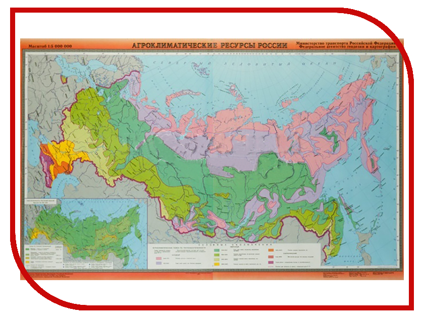 Карта Глобусный Мир Агроклиматические ресурсы 20003