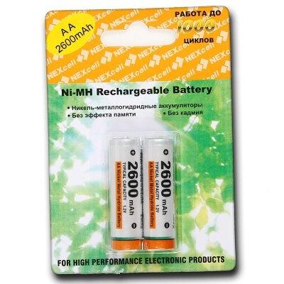 Аккумулятор AA - NEXcell 2600 mAh Ni-MH (2 штуки) AA2600/2pack