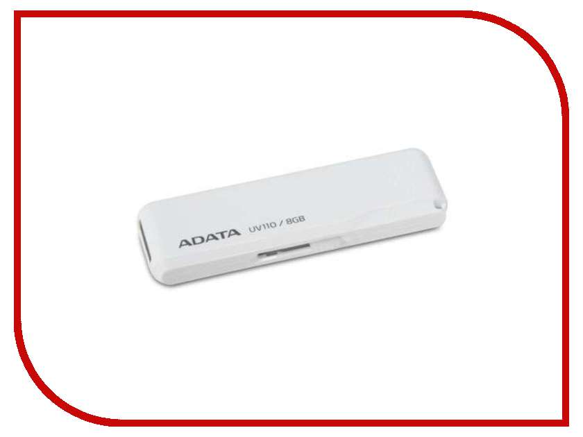 USB Flash Drive 8Gb - A-Data UV110 White AUV110-8G-RWH<br>