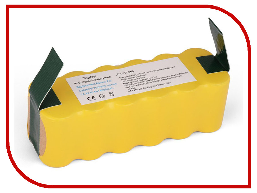 Аксессуар Аккумулятор TopON для iRobot Roomba 500 / 600 / 700 / 800 / 900 Series. 14.4V 4000mAh Ni-MH. PN: 80501 GD-ROOMBA-500 VAC-500NMH-33 free post new 2 x aerovac filter brush 6 armed for irobot roomba 500 600 series 620 630 650