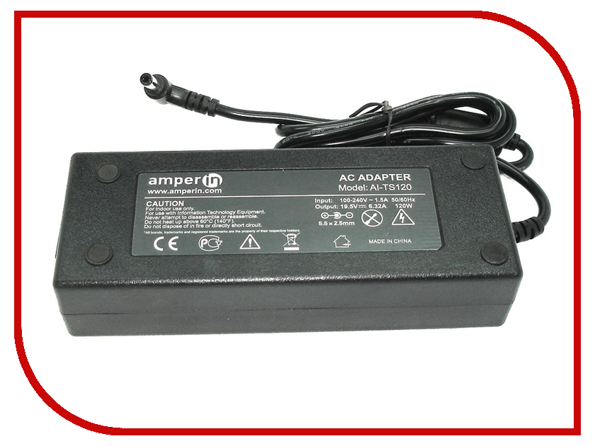 Блок питания Amperin AI-TS120 для Toshiba 19V 6.3A 5.5x2.5mm 120W 45w 19v ac power adapter charger for toshiba satellite c55 a5281 new genuine []