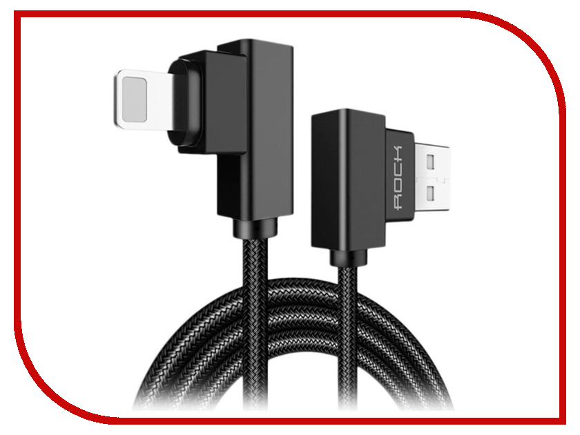 Аксессуар Rock Lightning to USB Dual-end L-shape 1m Black 1pc 1m 3ft dual alligator clip to bnc male power test probes clip coaxial cables for cctv system