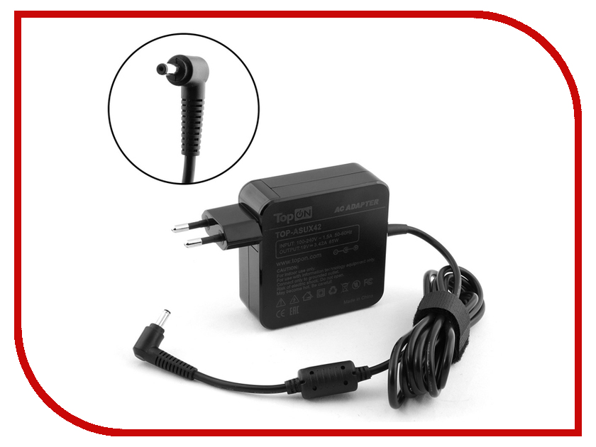 Блок питания TopON TOP-ASUX42 19V 3.42A 4.0x1.35mm 65W для ASUS Zenbook UX31/UX42/UX52/UX305/VivoBook X556/Taichi 21/31 Series адаптер питания topon top ac09 19v
