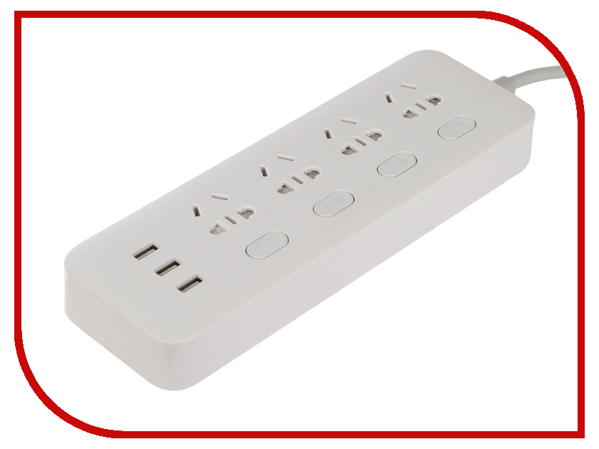 Удлинитель Xiaomi Mi Power Strip Sockets 4 USB 3 White NRB4023CN orico power strip eu plug 6 outlet surge protector eu power strip with 5x2 4a usb super charger ports white hpc v1