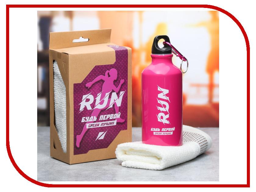 Набор СИМА-ЛЕНД Run - бутылка для воды 400ml + полотенце 3601868 кухонный набор сима ленд шеф повар хрюша 3505364