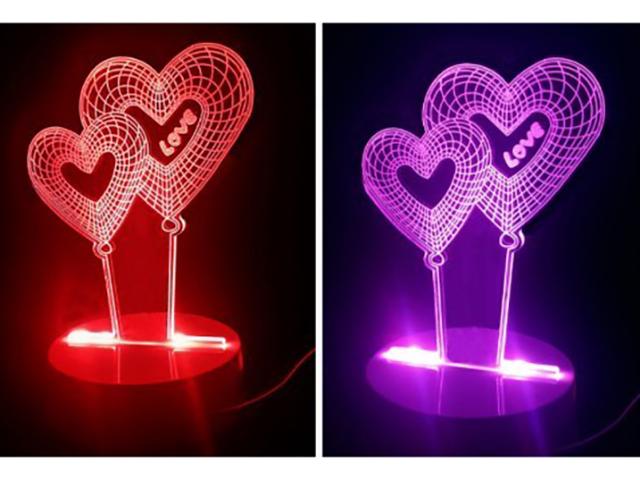 3D лампа Veila Сердечки 1049